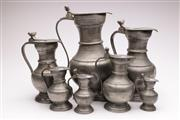 Sale 9060 - Lot 76 - A Collection of 7 Vintage Pewter Steins (Tallest 35cm Smallest 12cm)
