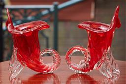 Sale 9103M - Lot 413 - A pair of red glass trumpet vases Height 20cm