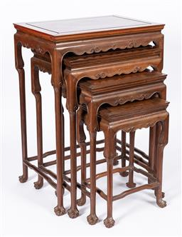Sale 9170H - Lot 12 - A nest of four Chinese rosewood occasional tables, largest Height 70cm x Width 51cm x Depth 35cm