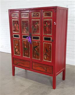 Sale 9191 - Lot 1043 - Hand painted 2 door Chinese cabinet (h:167 x w:166 x d:56cm)