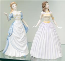 Sale 9256H - Lot 89 - Two Royal Doulton Classics figures including Happy Birthday 2003 (HN4464) and Janet (HN4310), H21cm.