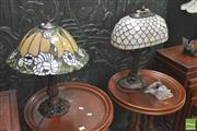Sale 8418 - Lot 1012 - Leadlight Table Lamps x 2