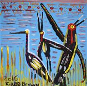 Sale 8478A - Lot 5028 - Trevor (Turbo) Brown (1967 - 2017) - Brolgas dance in the Autumn Sunshine, 2016 100 x 100 (stretched & ready to hang)