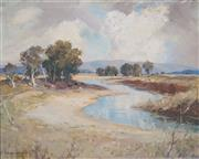 Sale 8519 - Lot 524 - James R Jackson (1882 - 1975) - Ovens River, Near Bright Victoria, 1960 45 x 55cm