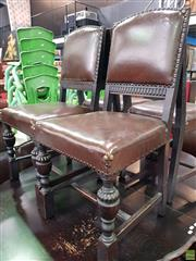 Sale 8589 - Lot 1079 - Set of Eight Studded Leather Upholstered Dining Chairs inc Two Carvers