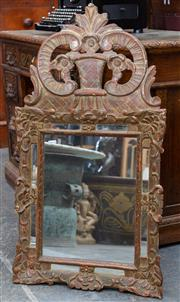 Sale 8746 - Lot 1015 - Small Baroque Style Carved & Gilt Mirror, with mirrored side panels surmounted by a floral basket