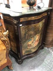 Sale 8822 - Lot 1824 - Serpentine Front Cabinet with Marble Top and Romantic Scene to Door - 278