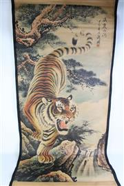 Sale 8894 - Lot 378 - Tiger Themed Chinese Scroll