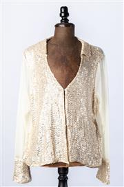 Sale 9003F - Lot 21 - A Trelise Cooper silk creamed sequinned top with see through back section, size 14