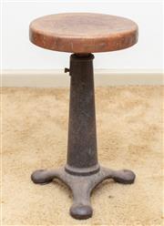 Sale 9058H - Lot 24 - An Iron based oak swivel top adjustable stool, Diameter 28cm