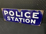 Sale 9092 - Lot 1018 - Vintage enamel POLICE STATION sign by McLean Bros (h:23 x w:61cm)