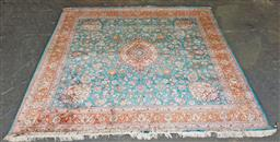 Sale 9142 - Lot 1090 - Fine Silk Mashad, with floral arabesques and birds on a deep aqua ground, with salmon coloured border (250 x 252cm)