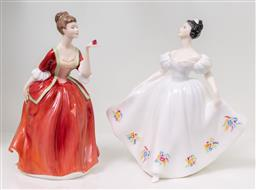 Sale 9256H - Lot 86 - A Royal Doulton figure of Flower of Love 1996 (HN3970), H20cm, together with a figure of Kate (HN2789), H19.5cm.