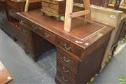 Sale 8390 - Lot 1205 - Leather Inlaid Top Twin Pedestal Desk with Nine Drawers