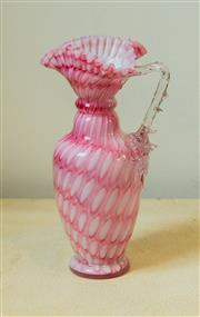 Sale 8420A - Lot 36 - A pink Murano crimped art glass vase, measurements: 20cm high, condition: vintage very good no damage