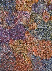 Sale 8519 - Lot 541 - Gloria Petyarre (c1945 - ) - Mountain Devil Lizard (swirling in the sand) 208 x 152cm