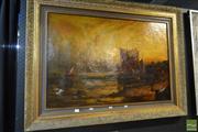 Sale 8525 - Lot 2051 - European School, Fishing Boat, Oil, 61x90.5cm A/F