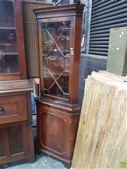 Sale 8601 - Lot 1480 - Timber Corner Shelf Unit with Glass Front Door (H: 183cm)
