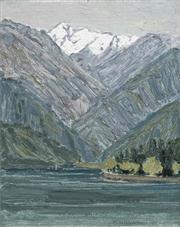 Sale 8693A - Lot 5002 - Clem Millward (1929 - ) - Mount Bogoa, Tianshan Mountains XinJiang, 1995 17.5 x 14.5cm