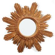 Sale 8902H - Lot 73 - A vintage giltwood and composition sunburst design bevel edged mirror, overall size 45 cm