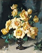 Sale 8992 - Lot 534 - Alan Baker (1914 - 1987) - Still Life With White Roses 49 x 39 cm (frame: 69 x 59 x 3 cm)