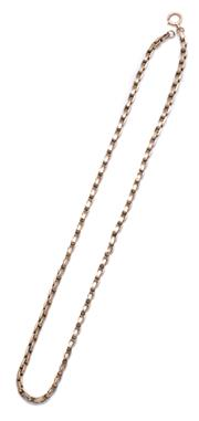 Sale 9012 - Lot 375 - A VINTAGE 9CT GOLD CHAIN; flat anchor links to a bolt ring clasp, length 46cm, wt. 15.62g.