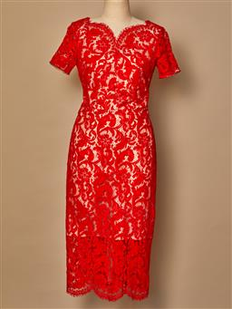 Sale 9093F - Lot 16 - A Lover red laced evening dress, size 8