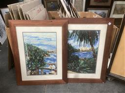 Sale 9101 - Lot 2063 - Kylie Emma (2 works) Sydney: Sydney Opera House & Harbour Bridge hand-coloured digital print , 86 x 66cm (frames)