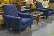 Sale 8287 - Lot 1054 - Pair of Blue Upholstered Retro Armchairs