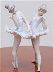 Sale 8430 - Lot 102 - An unusual Lladró freestanding group of two ballerinas