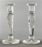 Sale 8444A - Lot 83 - A pair of hand cut crystal candle sticks, c1910, H 22cm