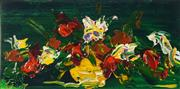 Sale 8565 - Lot 581 - Dean Vella (1958 - ) - Flowers on Green on Cedar 14 x 28cm