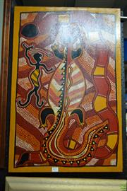Sale 8578T - Lot 2071 - Q. Whitton Hunter, Crocodile, and Snake, 1988 acrylic on canvas, 76 x 50.5cm, signed verso
