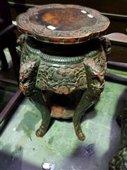 Sale 8653 - Lot 1097 - Japanese Meiji Carved Export Pedestal, with lacquered finish, lobed top, the apron and serpentine legs carved with cherry blossoms &...