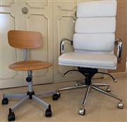 Sale 8510A - Lot 50 - A white leather height adjustable swivel chair with padded back together with smaller timber example