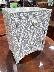 Sale 8740 - Lot 1036 - Ornately Inlaid Bedside Cabinet