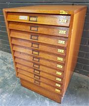 Sale 8984 - Lot 1009 - Vintage Maple Specimen Cabinet with Ten Glass Top Drawers (H:71 x W:54 x D:55cm)