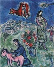 Sale 8985A - Lot 5040 - Marc Chagall (1887 - 1985) - Sur La Route Du Village 84 x 63 cm (frame: 113 x 87 x 3 cm)