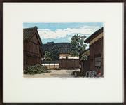 Sale 9023H - Lot 23 - KATSUYUKI NISHIJIMA ( b. 1945)  Courtyard, woodblock print. 37.5cm x 27cm