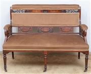 Sale 9058H - Lot 18 - An Edwardian two seater settee in the Sheraton taste with warm golden brown upholstery, the showframe with carved plamette and inlai...