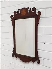 Sale 9068 - Lot 1079 - George III Style Inlaid Mahogany Mirror, with scrolled frame & central bat-wing paterae (65 x 39 cm)