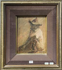 Sale 9152 - Lot 2001 - Tony Costa Portrait of Aboriginal Elder oil on board 45 x 40cm (frame), signed