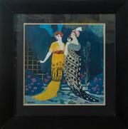 Sale 8420A - Lot 5 - Art Deco style print, Ladies Casbah design, measurements: 74cm high x 73cm wide, condition: new