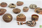 Sale 8477 - Lot 1 - Aboriginal Ceramics Inc Small Lidded Pots, Vases, Oil Lamp and Others (12)