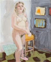 Sale 8519 - Lot 592 - Wendy Sharpe (1960 - ) - Model in Interior I 24 x 20cm