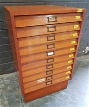 Sale 8984 - Lot 1010 - Vintage Maple Specimen Cabinet with Ten Glass Top Drawers (H:71 x W:54 x D:55cm)