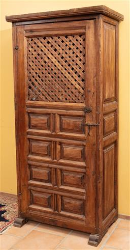 Sale 9120H - Lot 9 - A rustic Spanish colonial cupboard with shelved interior, Height 171cm x Width 82cm x Depth 46cm