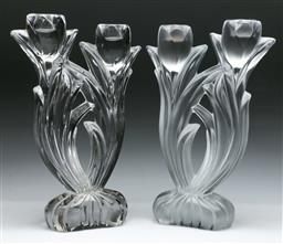 Sale 9144 - Lot 25 - Two French crystal floral themed candle holders inc frosted and clear glass (H:28cm)