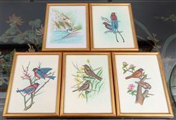 Sale 9256H - Lot 83 - A set of five gilt framed works on silk, depicting birds, each frame size 21cm x 15.5cm.