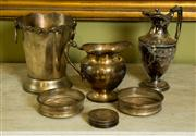 Sale 8418A - Lot 65 - A group of silver plated drinking wares including a champagne bucket, coffee pot, water jug, Strachan coasters, and a pair of pierce...
